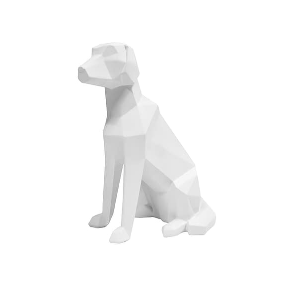 Wit Ornament Origami Dog - Sitting polyresin Mat Wit - 23