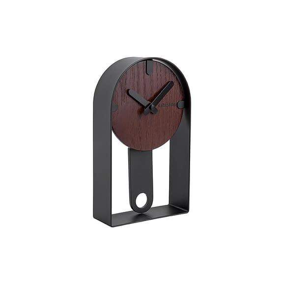 Zwart Tafelklok Dashed - Walnoothout fineer Zwart - 22x13x5cm