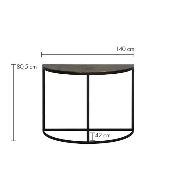 Side table Peto - Antiek Brons/Zwart - 100x42x76 cm