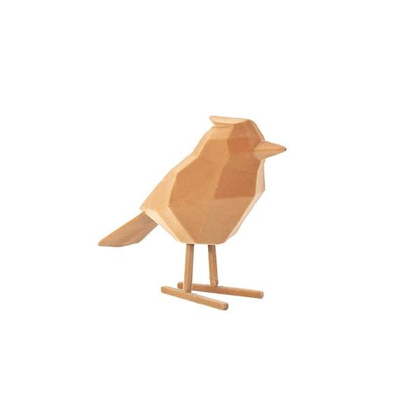 Bruin Ornament Bird - Polyresin Fluweel Bruin - Large - 18