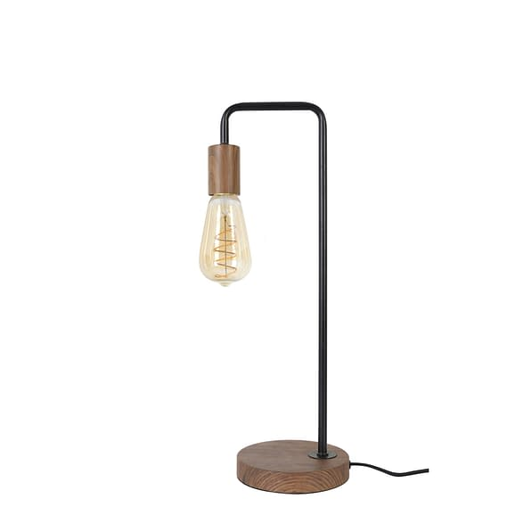 Tafellamp Tomasso - Zwart/Bruin hout - 19x15x50 cm - Incl. Lichtbron