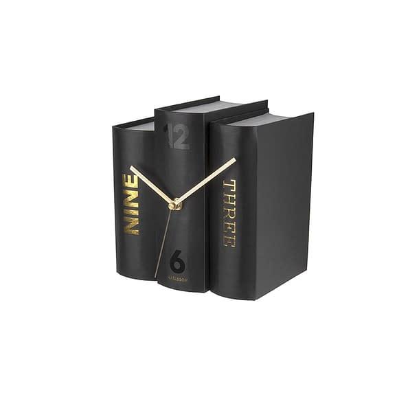 Zwart Tafelklok Book - Black Paper - 20x15x20cm