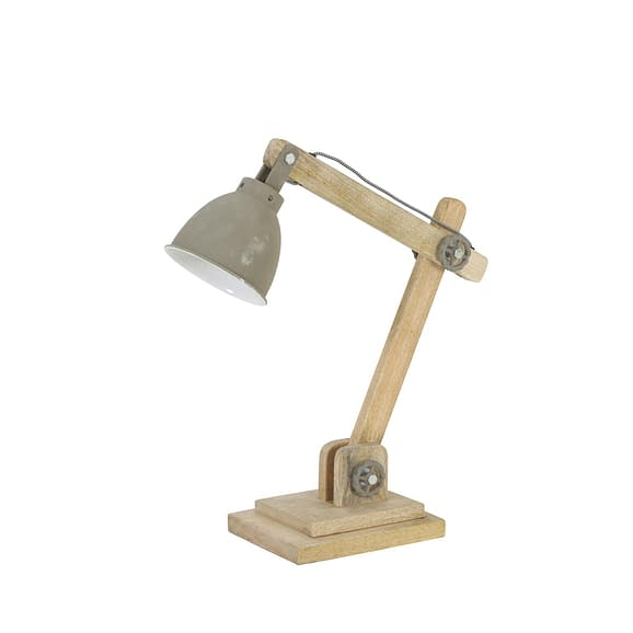 Light & Living Bureaulamp Elmer - Hout Naturel/Cement - 50x15x45 cm
