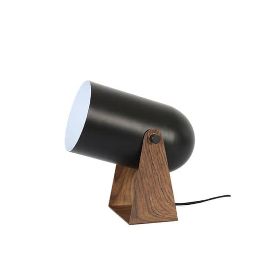 Tafellamp Wester - Mat Zwart/Bruin - 21x13x23 cm