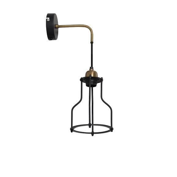 Wandlamp Marcia - Zwart/Antiek Brons - 23x15x48 cm