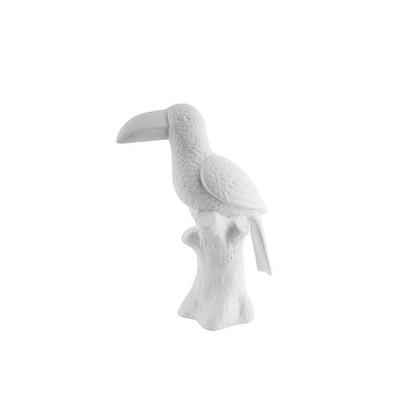 Wit Ornament Toucan - Keramiek Mat Wit - 23cm