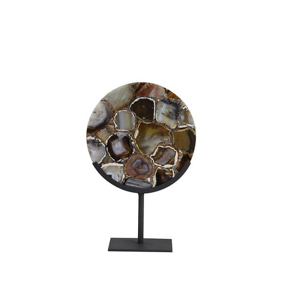 Ornament op voet 25x11x35 cm GOUYA agaat+mat zwart
