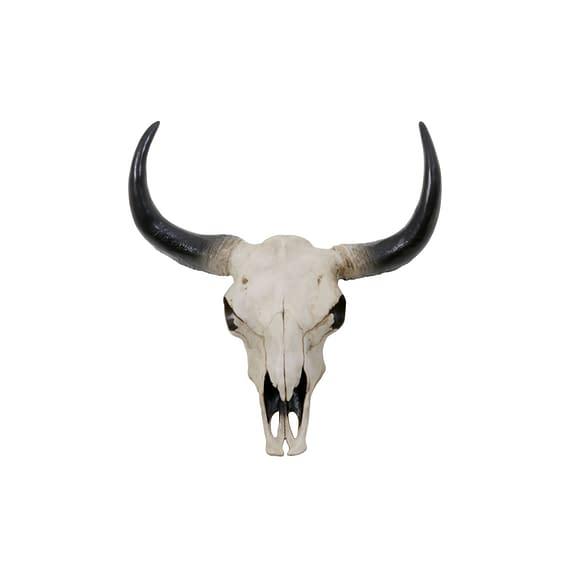 Wandornament SKULL - Buffel Wit-Zwart - L