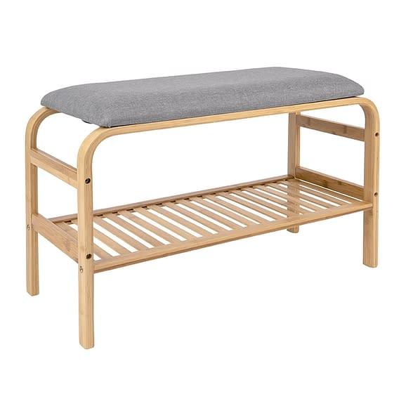 Leitmotiv - Bench Dure bamboo w. grey fabric