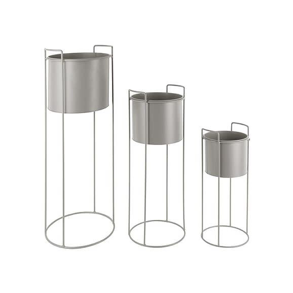 Grijs Plantenpot set Essence - IJzer Warm Grijs - Rond - 80x28cm & 28x23cm & 50x19cm
