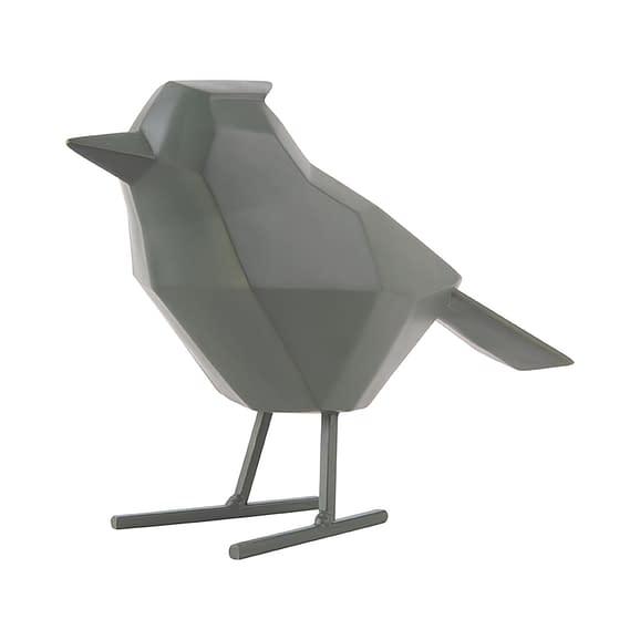 Groen Ornament bird - Large polyresin Mat Jungle Groen - 24x9x18