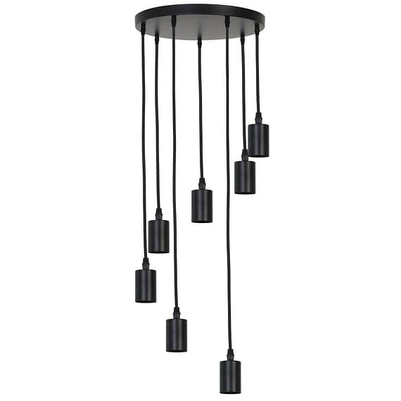 Pendel Hanglamp Brandon - Mat Zwart - 7L - Ø40 x 117
