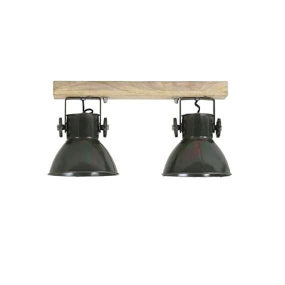 Hanglamp ELAY - Hout-Leger Groen - 2-Lichtpunten
