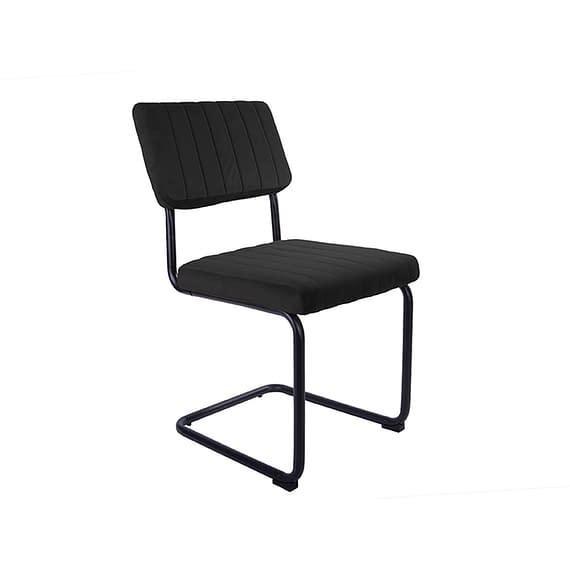 Zwart Set van 2 Eetkamerstoelen Keen - Velvet Zwart - 47x56x84cm