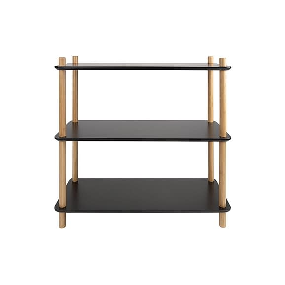 Zwart Plankenkast Simplicity - Bamboe Zwart - Small - 80x30x82