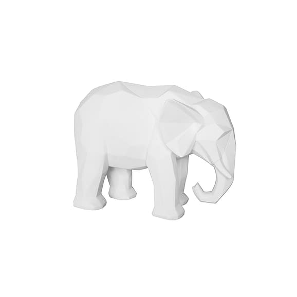 Wit Ornament Origami Elephant - Polyresin Mat Wit - 27