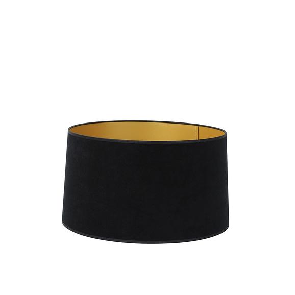 Lampenkap drum plat VELOURS – 45-42-25cm – zwart-goud