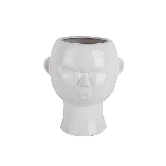 Wit Plantenpot Mask - Glazuur Wit - Rond - 18