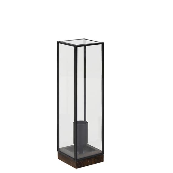 Tafellamp 10x10x35 cm ASKJER hout bruin+zwart+glas