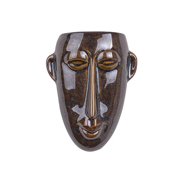 Bruin Muur plantenpot Mask - Glazuur Donker Bruin - Lang - 17