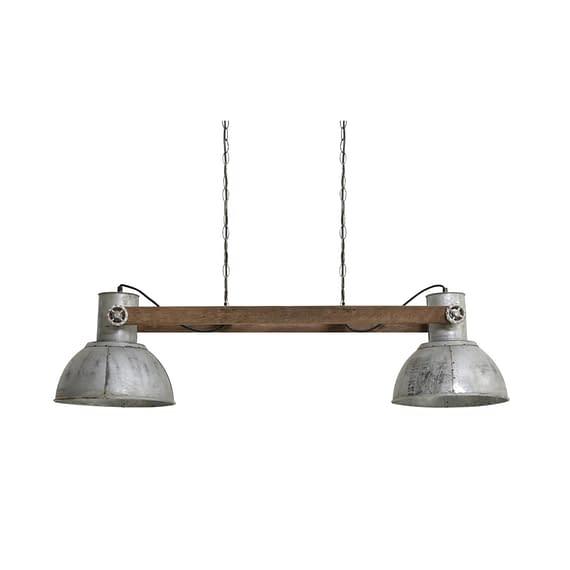 Hanglamp Elay - Hout Weather Barn/Vintage Zilver - 2L