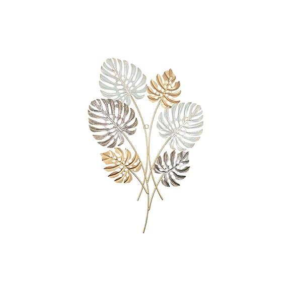 Goud Muurkunst Monstera Leaves - Metaal - 43x62x2cm