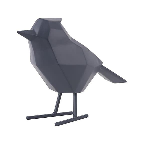 Blauw Ornament bird - Large polyresin Mat Donkerblauw - 24x9x18