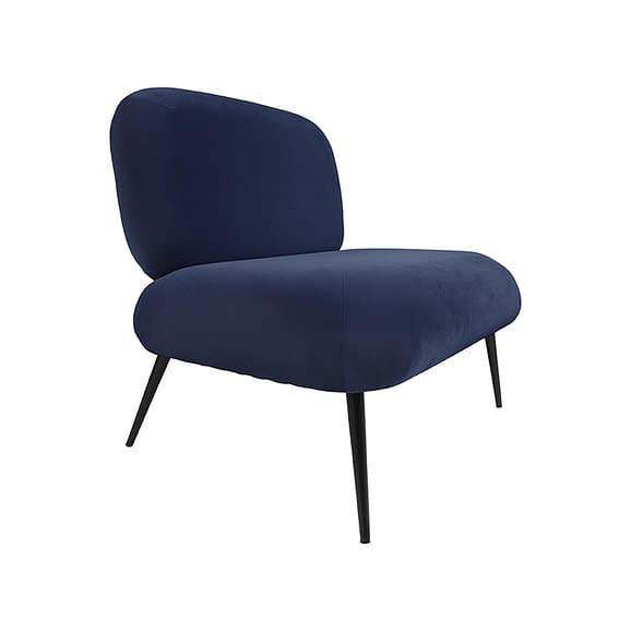 Leitmotiv - Stoel Puffed - Velvet Donkerblauw - 81x68x78cm