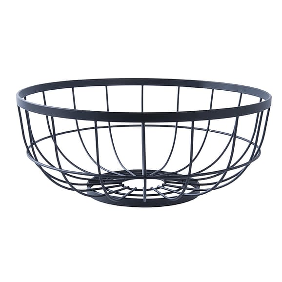 Zwart Fruitmand Open Grid - Metaal Zwart - 28x12cm