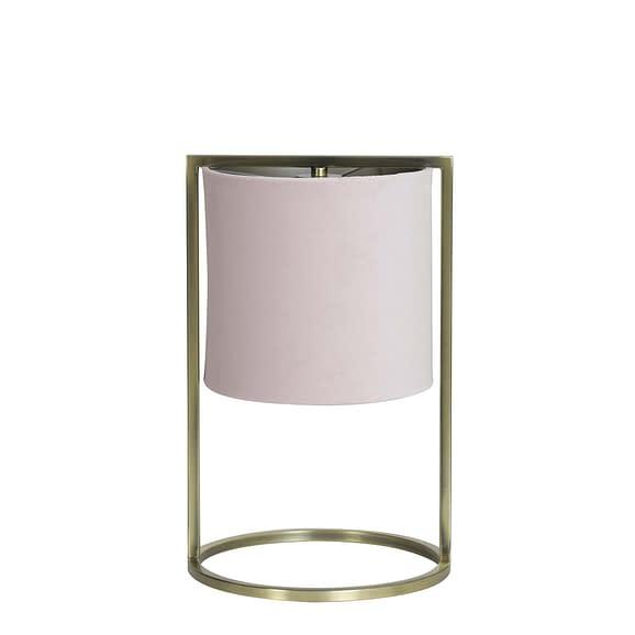Tafellamp Ø22x35 cm SANTOS antiek brons+kap licht roze