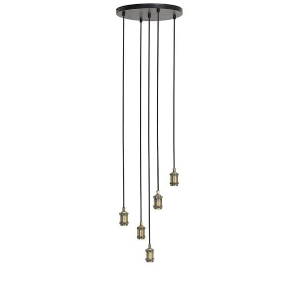 Hanglamp MADELIN rond - Antiek-brons - 5-lichtpunten
