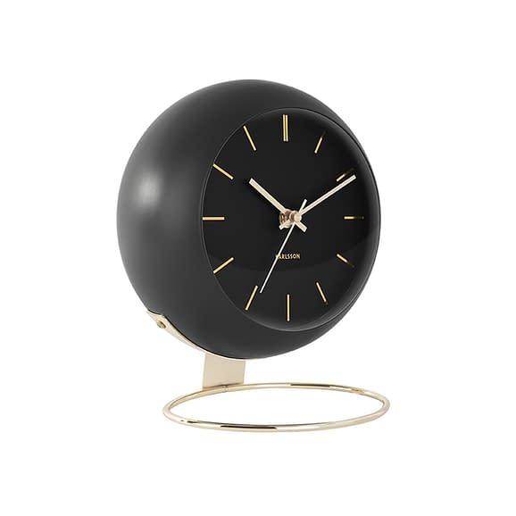 Karlsson - Tafelklok Globe - Zwart - 21x24