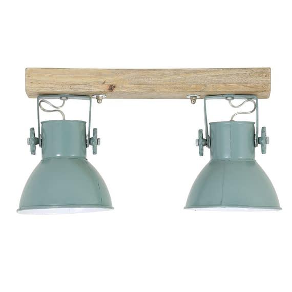Wandlamp ELAY - Hout + Industrieel Groen - 2-lichtpunten