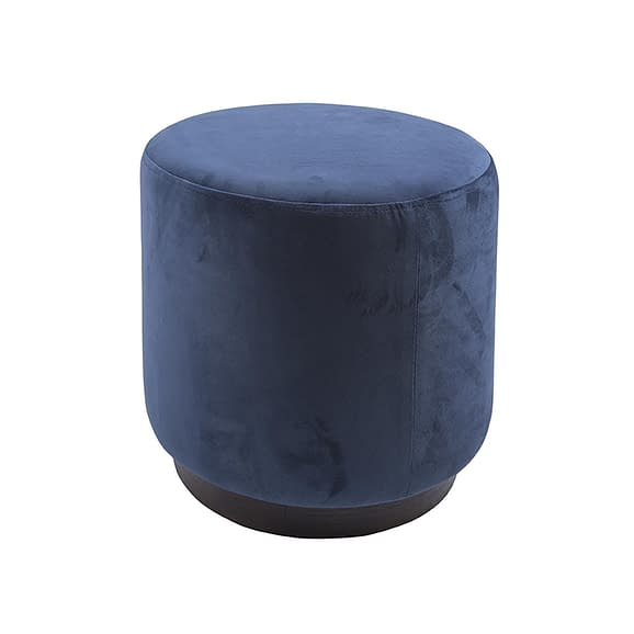 Blauw Poef W. Wood Rim - Velvet Jeans Blauw - Medium - 36x38cm