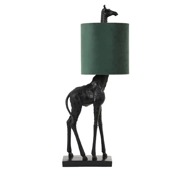 Tafellamp Giraffe - Zwart/Groen - 28x20x68 cm
