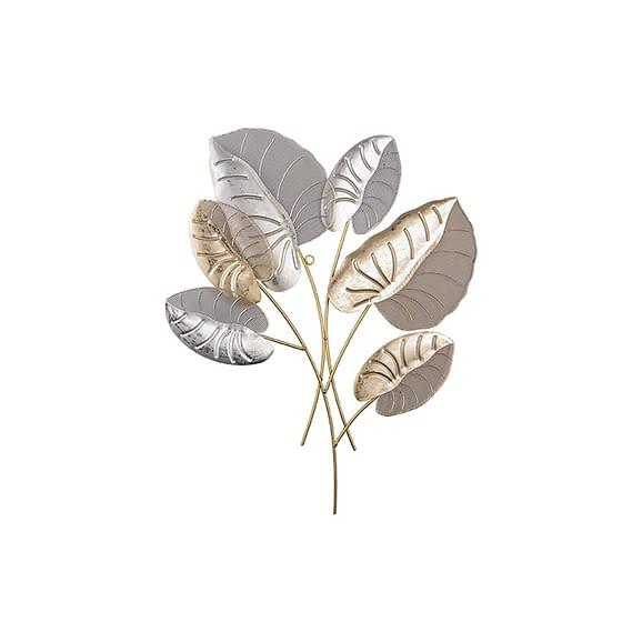 Goud Muurkunst Alocasia Leaves - Metaal met mesh - 50x62x2cm
