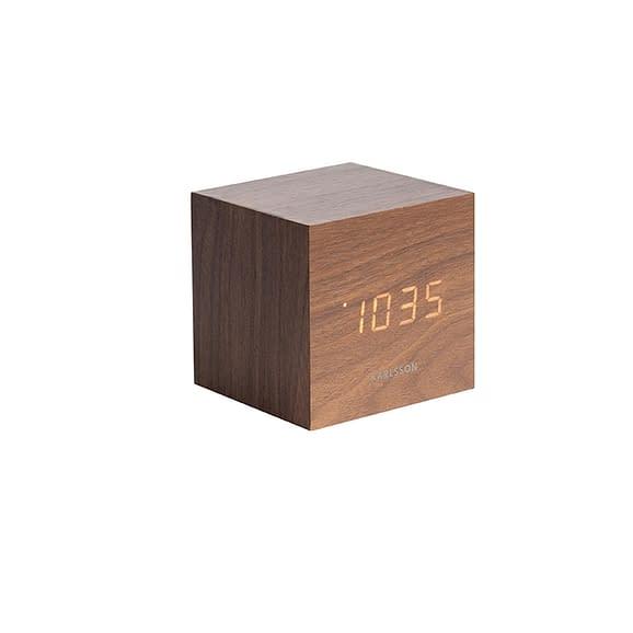 Karlsson - Wekker Mini Cube - Donker Hout fineer