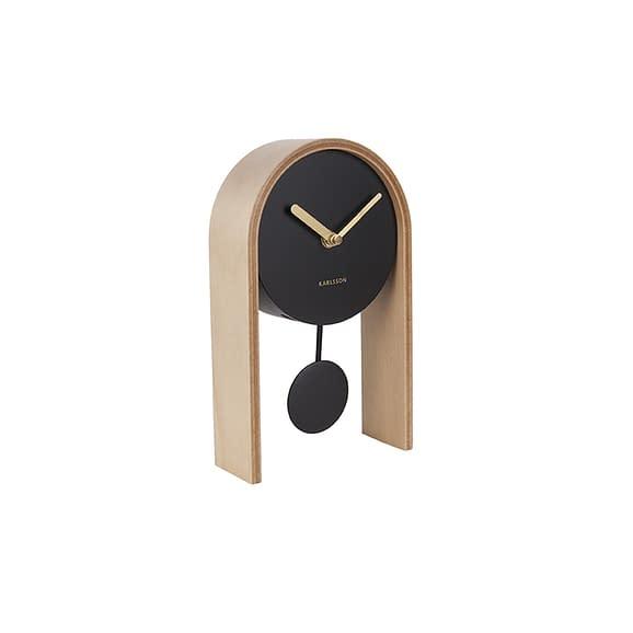 Bruin Tafelklok Smart Pendulum - Licht Hout - 25x15x7cm