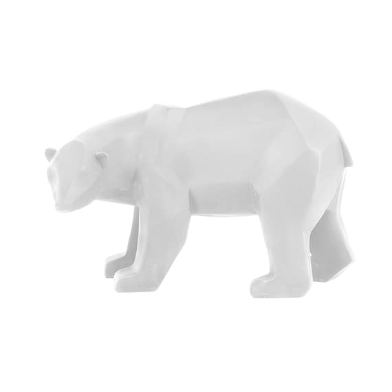 Wit Ornament Origami Bear - Polyresin Mat Wit - Large - 28