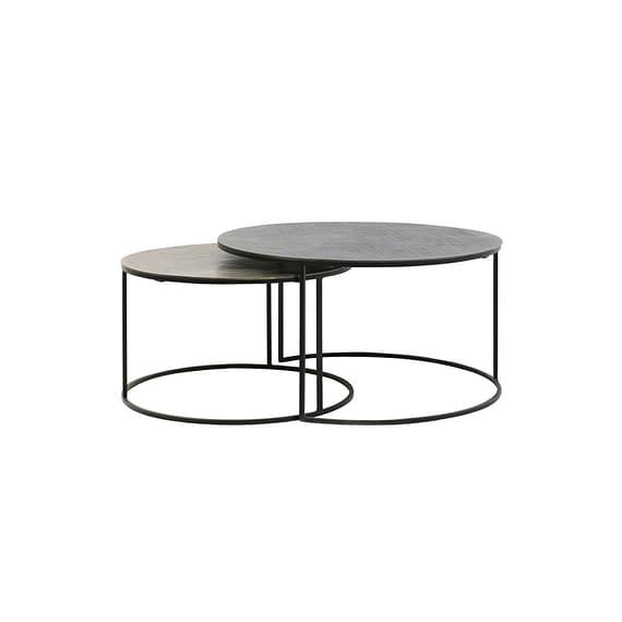 Ronde Salontafel Rengo Relief - Antiek zwart/Antiek Brons - Set/2 - Ø61x37 + Ø76x41 cm