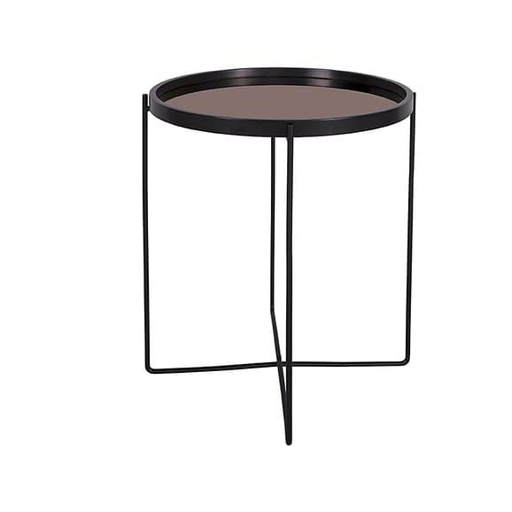 Zwart Side table Gepolijst Zwart met Koper spiegel top - 50x60cm
