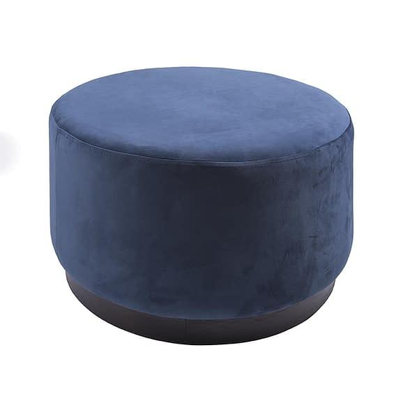 Blauw Poef W. Wood Rim - Velvet Jeans Blauw - Large - 50x30cm