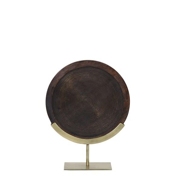 Ornament op voet 35x12x47 cm KAMUDI hout bruin-antiek brons