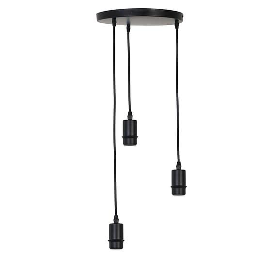 Pendel Hanglamp Braidy - Mat Zwart - 3L - Ø30 x 117