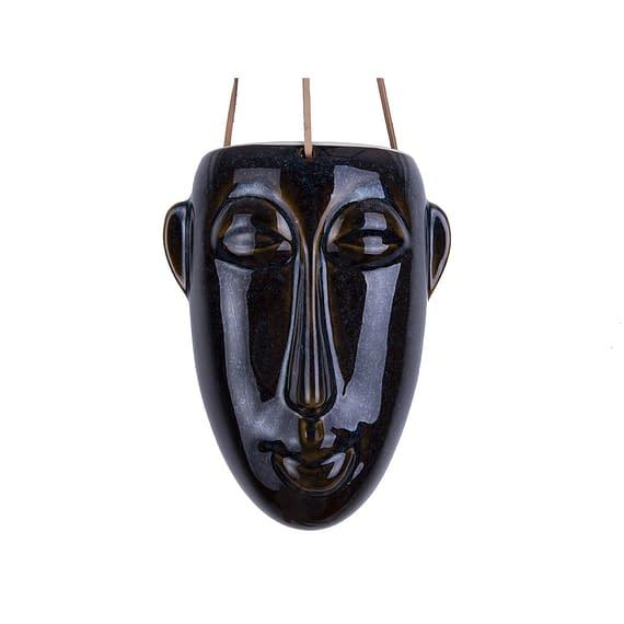 Bruin Hangende plantenpot Mask - Glazuur Donker Bruin - Lang - 12