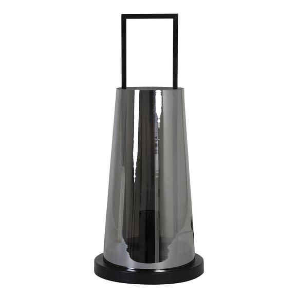 Tafellamp Ø23x53 cm AMANDO glas smoke grijs+mat zwart