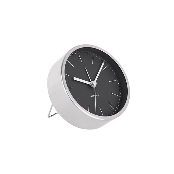 Zwart Wekker Minimal - Zwart - Nikkel behuizing - Ø10cm