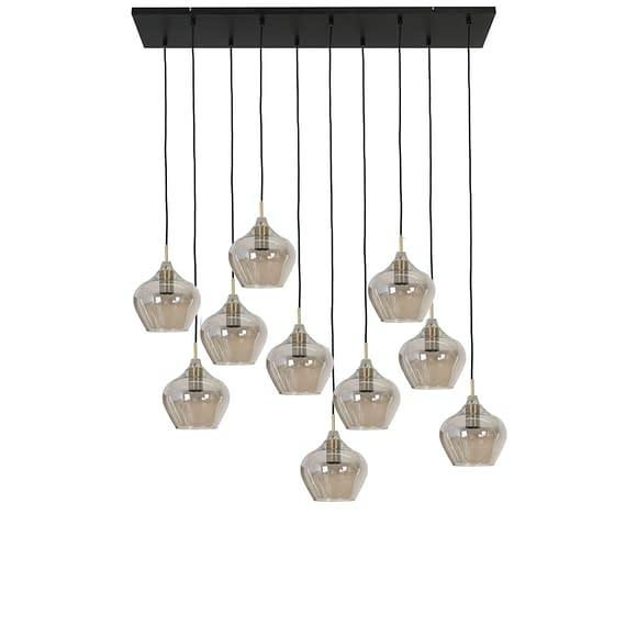 Hanglamp Rakel - Antiek Brons/Smoke - 10L - 124 x 35 x 60 cm