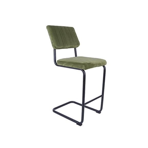 Groen Set van 2 Barkruk Keen - Velvet Mosgroen - 47x56x102cm