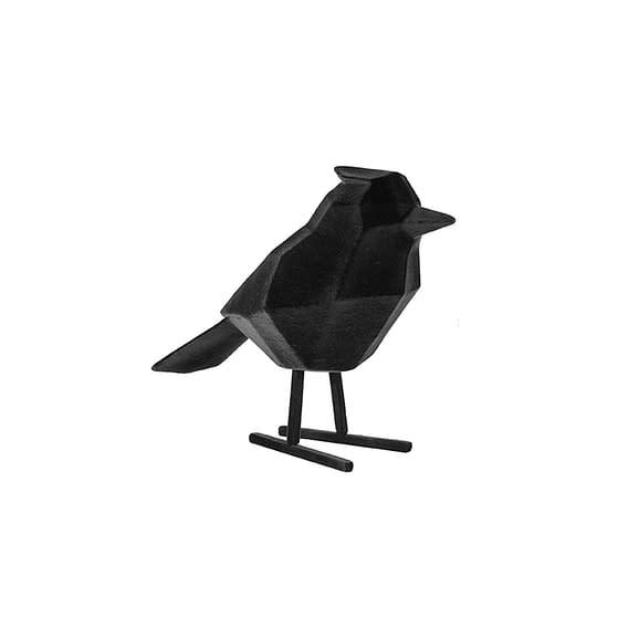 Zwart Ornament Bird - Polyresin Fluweel Zwart - Large - 18